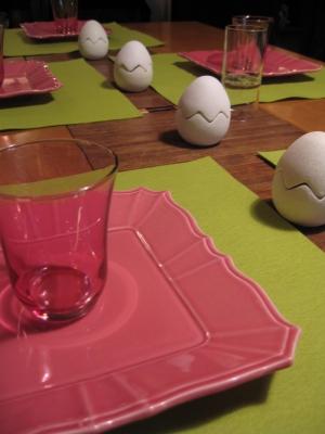 イースターのテーブル製作の途中