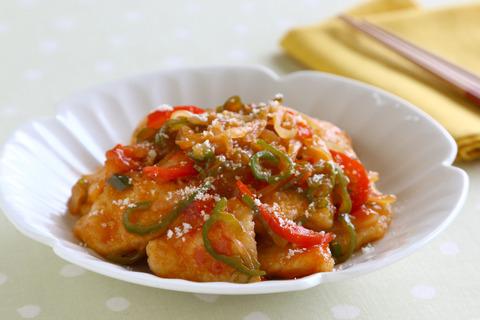 ふんわり鶏むね肉とピーマンのナポリタン風 (3)