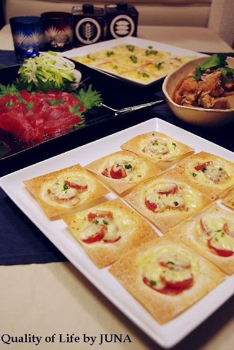 【タルチョ・麦】週末は居酒屋風に☆ワンタンのピザ風他