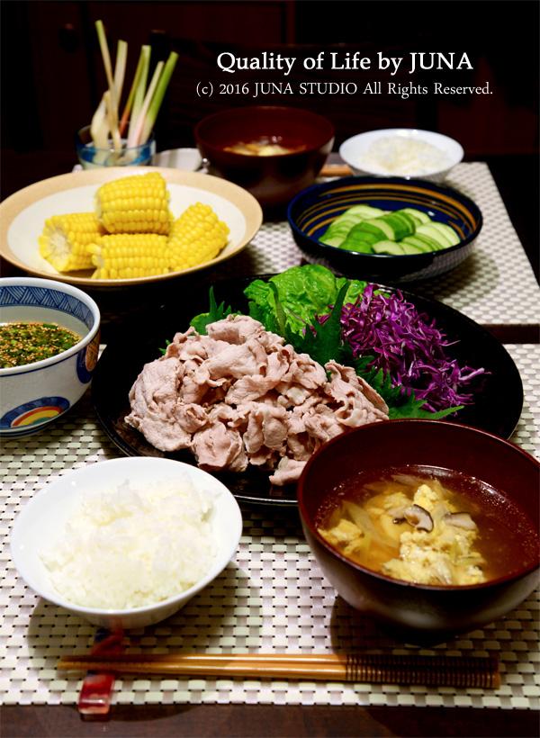 夏の献立☆豚しゃぶ&スープ、ほか