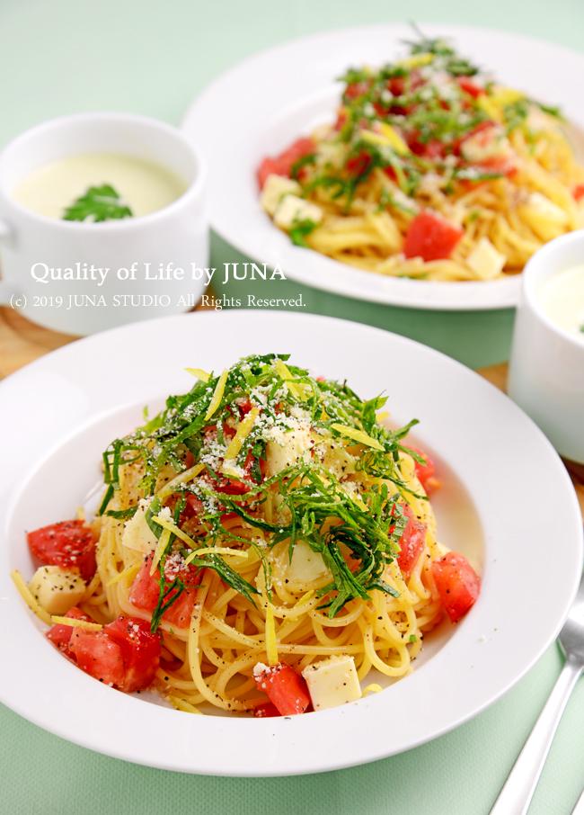 【ヤマサさん連載】トマトと大葉とチーズの冷製パスタ