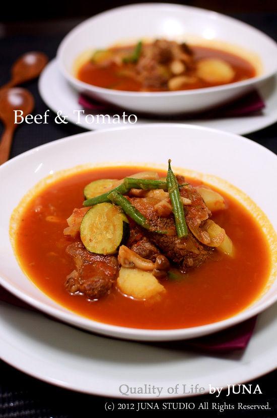 牛スネ肉のトマト煮こみスープ☆圧力鍋で