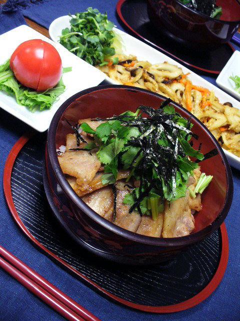 豚バラ肉のわさびしょう油丼&和風マーボー風丼
