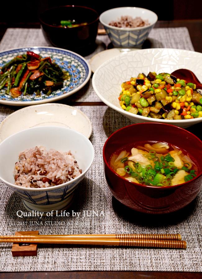 【夏の健康維持に】和風鶏スープ、空芯菜のペペロンチーノ風、カラフル夏野菜のコンソメ炒め
