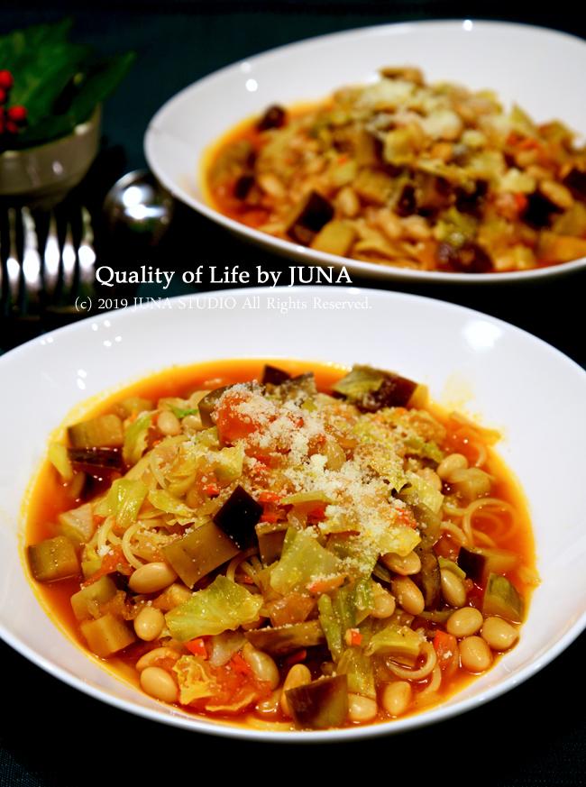 娘と2人晩ご飯は野菜たっぷりトマトスープパスタ/JUNA夫さんが正月の贅沢品として選んだ食べもの
