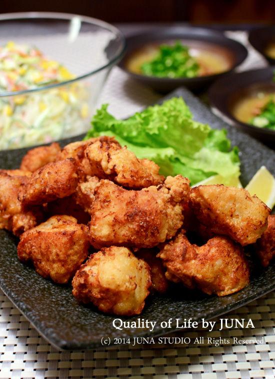 鶏むね肉の塩から揚げとかレモン塩入り春雨サラダとか。