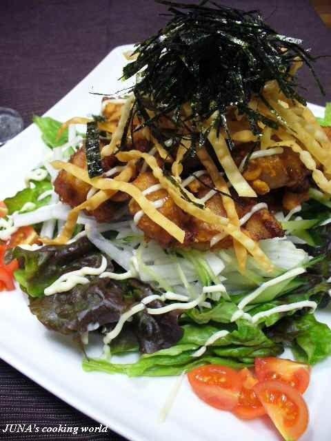 マグロの竜田揚げサラダ風&なんでも野菜の水餃子
