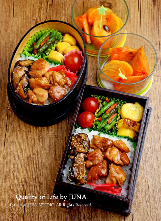 【今日のおべんと】焼き鶏&しいたけ佃煮のっけ弁