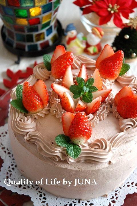 おうちで出来るクリスマスケーキ チョコレートクリーム&イチゴ♪