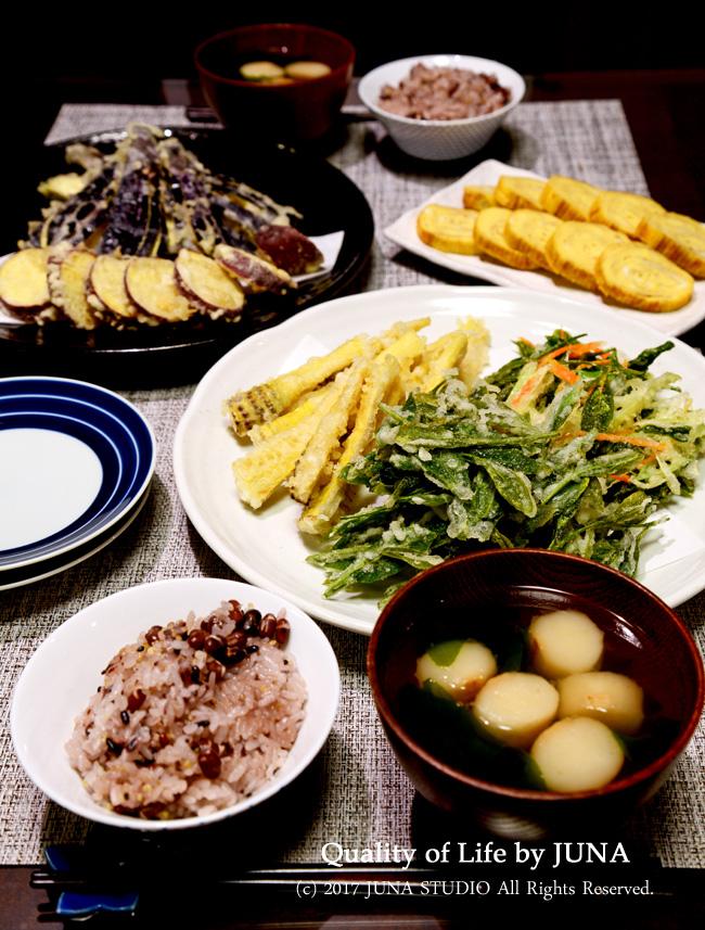 お茶の葉とたけのこの天ぷら&かき揚げなど