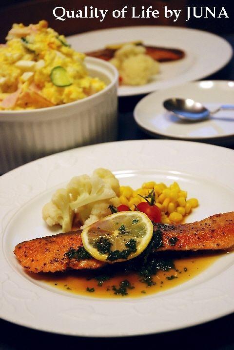 鮭のムニエル レモンパセリソース & おいしいポテサラ