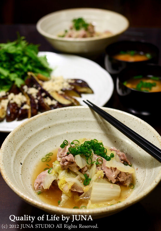 白菜と豚肉の重ね蒸しなど