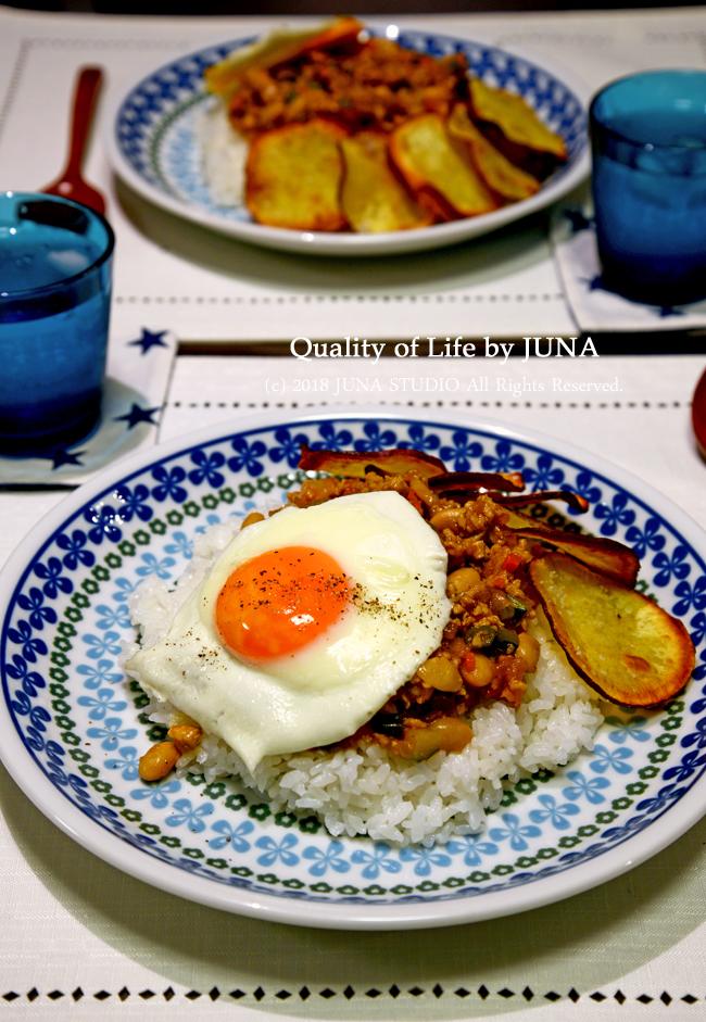 【レシピ】一皿で栄養満点・鶏ひき肉&大豆&野菜のケチャップ炒めのせごはん