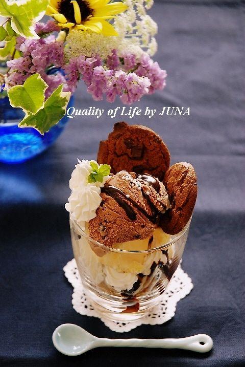 簡単おやつ「チョコレートバナナパフェ」とお花