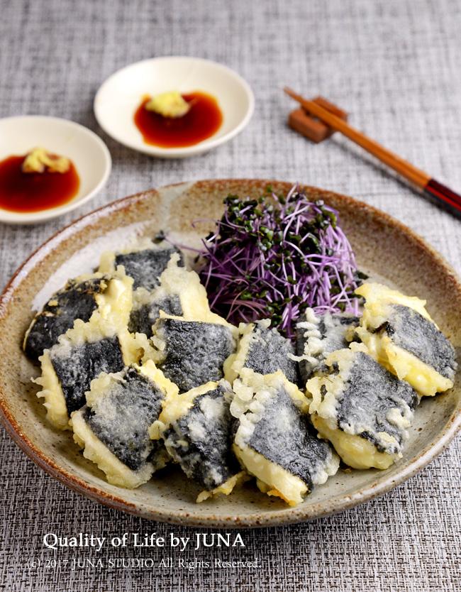 しょうがしょう油で食べる豆腐の磯辺焼き