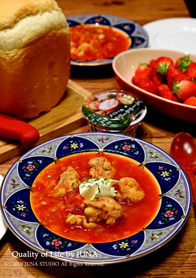 トマトスープ&天然酵母の食パンの晩ご飯/昨日の大雨でおきた体の異変
