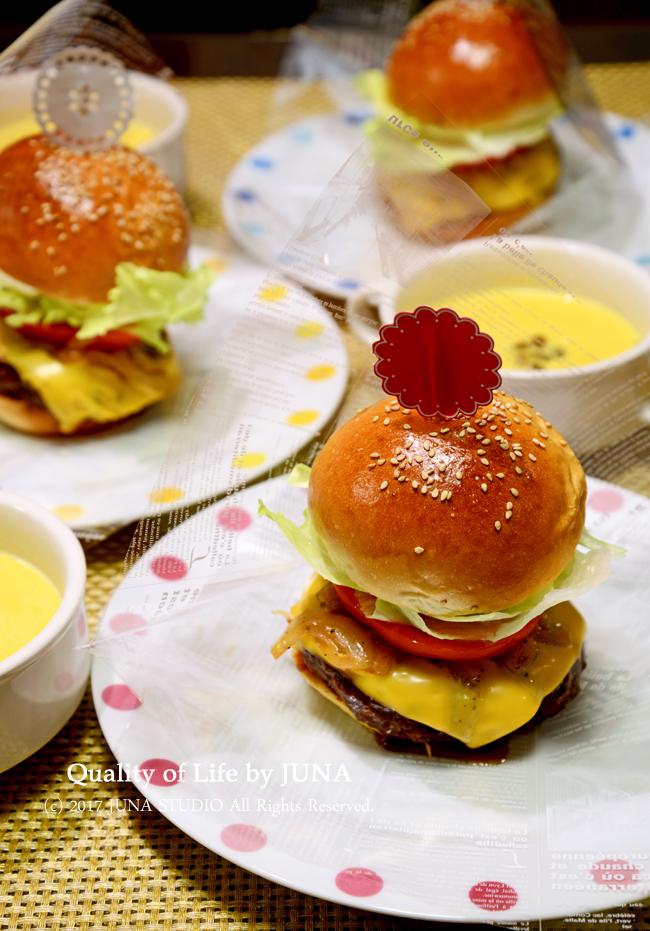 ハンバーガー&かぼちゃスープ