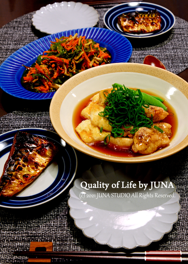 揚げ豆腐と鶏のだしあんかけなど/暑いのに気がつかない更年期w