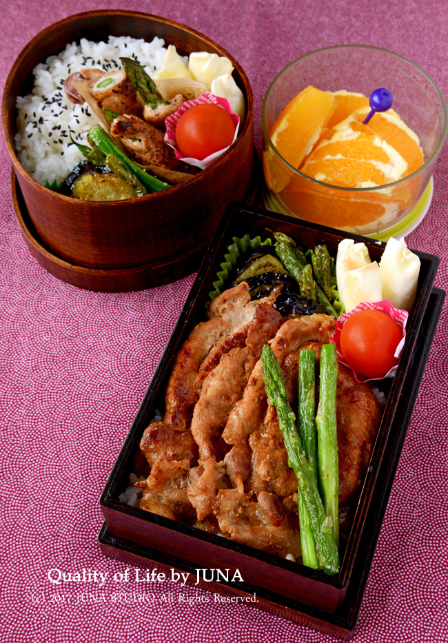 【今日のおべんと】しょうが焼き丼 or アスパラの肉巻き弁当
