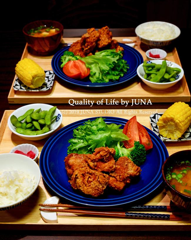 【盆ご飯】朝のお弁当のおかずが夜のから揚げ定食に(;´∀`)