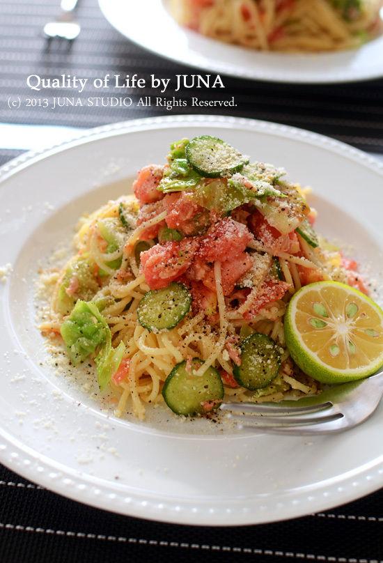 【レシピブログ連載】【夏休みのぱぱっとランチ】お野菜とツナの冷製スパ