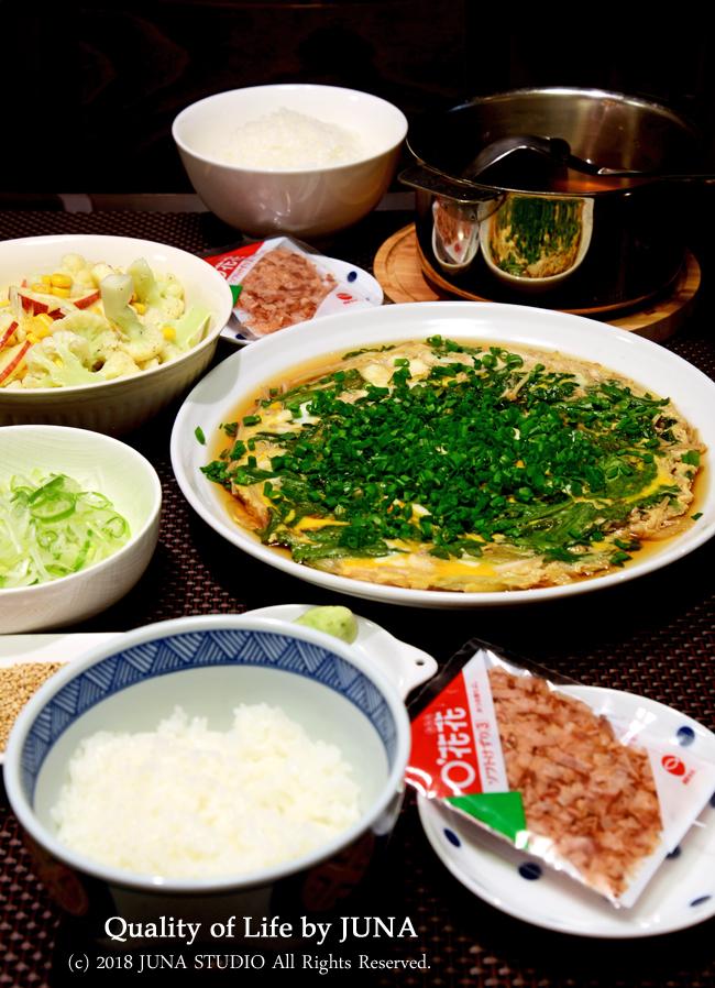 わさび丼→だし茶漬け、えのきと春菊の卵とじなど/私の足の裏w