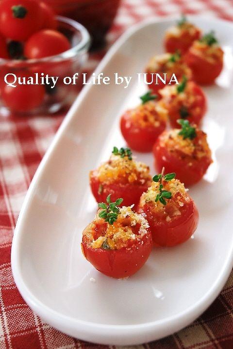 トースターで簡単☆プチトマトのファルシー