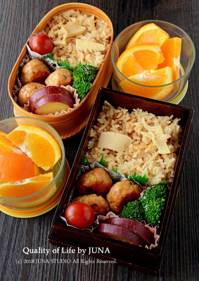 【今日のおべんと】たけのこごはん&鶏肉団子弁当