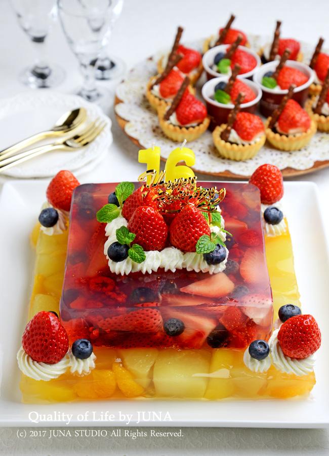 娘の誕生日ケーキ フルーツたっぷりゼリーケーキ2段~