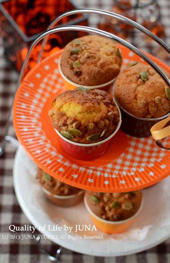 かぼちゃのカップケーキ と ラッピング