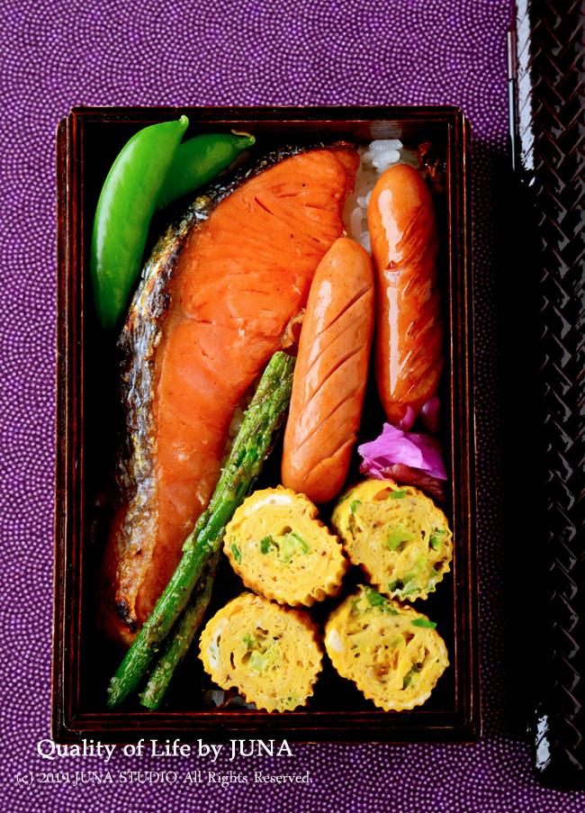 【今日のおべんと】半分のり弁、半分鮭のっけ弁(笑)
