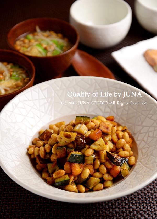 【朝食にもお弁当にも】大豆と旬野菜のコンソメバター炒め