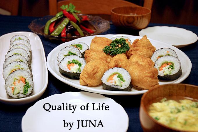 野菜巻きずし&いなりずし、野菜の洋風煮浸し / 田子重さんとコラボ