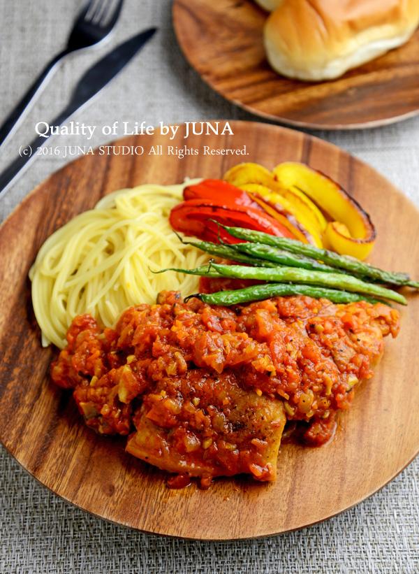 チキンのトマト煮☆パスタ&野菜添え
