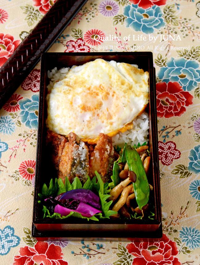 【今日のおべんと】夫だけ弁 さばのみりん漬け&つぶし目玉焼きのっけ弁当