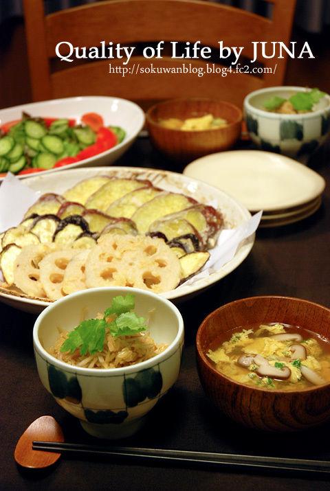 ごぼうとしょうがの炊き込みご飯、天ぷら など