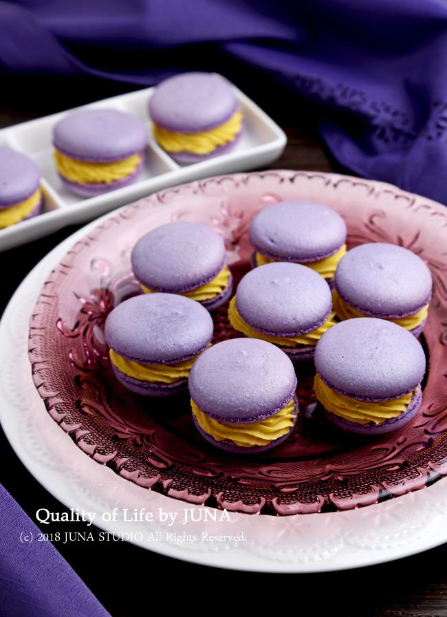 【レシピ】紫いものマカロン~さつまいもクリーム~ / 今日のおべんと