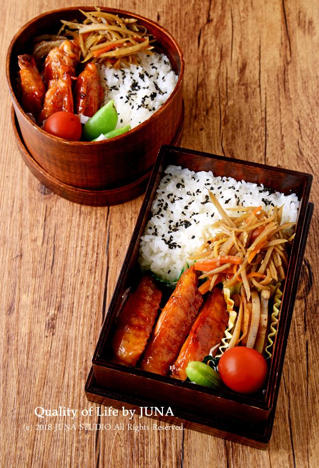 【今日のおべんと】手羽中の甘辛焼き(ケチャップ風味)のお弁当