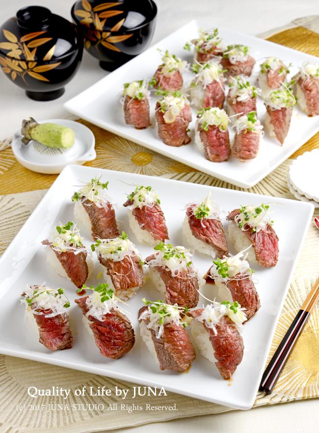 【年末年始のおもてなしに】牛ステーキのっけ寿司