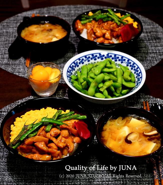 超ちょびっとな庭の恵みを家族で楽しんだ食卓。他は鶏丼など♪