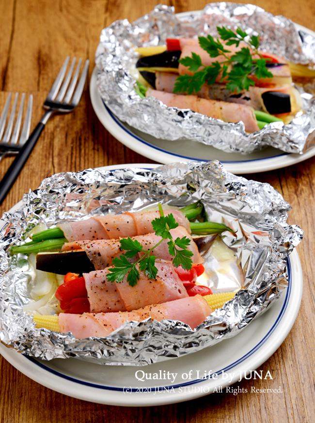 【朝食または昼食におすすめ・作りおきにも】夏野菜のベーコン巻きのホイル焼き&豆乳で作る冷製ツブツブコーンスープ