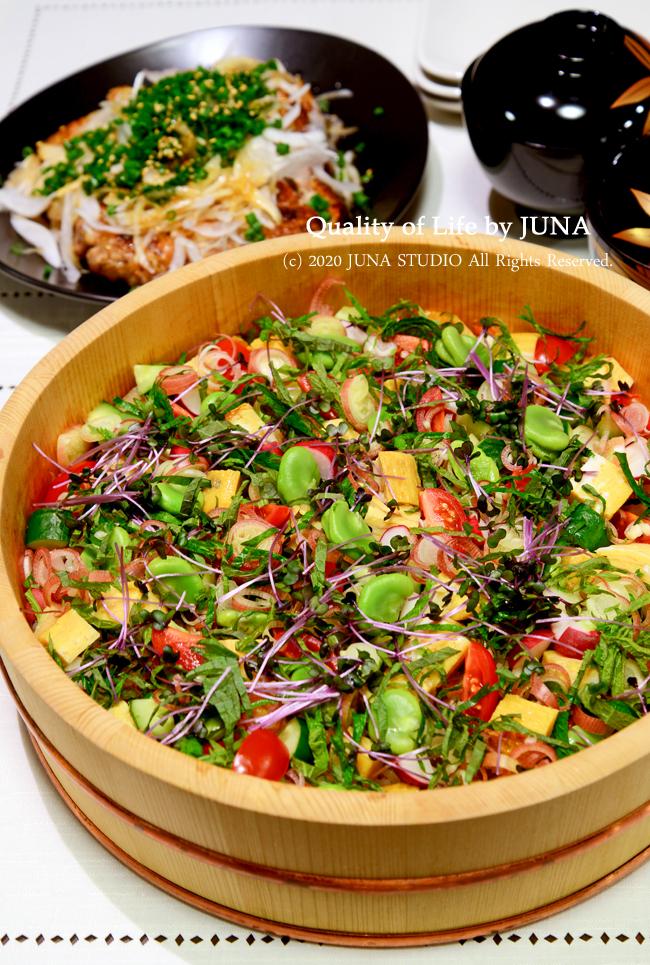 昨日のひな祭りの日のごはん♪~野菜ちらしとパリパリチキン~/恋つづ最高っ♪