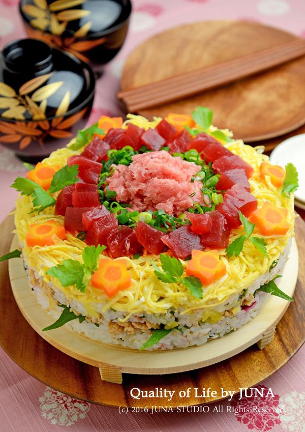 ひな祭りに☆ケーキ風押し寿司