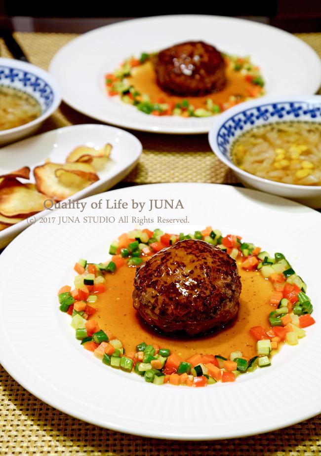 野菜と楽しむハンバーグ と タピオカ