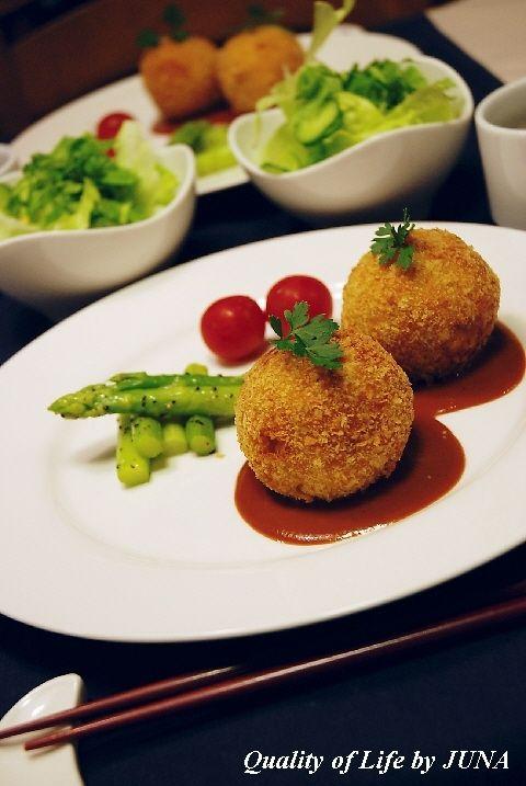 「なんでもマヨ料理」まん丸かぼちゃコロッケ☆もちもちチーズ入り