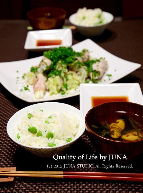枝豆と葉ショウガの炊き込みごはん&野菜の豚肉巻き蒸し