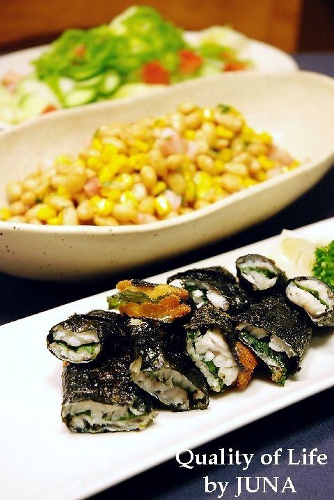 太刀魚の海苔巻き揚げ /  大豆のバターコンソメ炒め