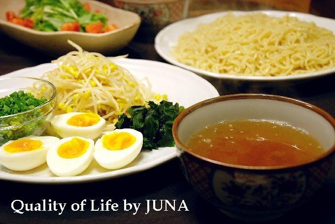 麺=熱、スープ=熱の簡単つけ麺 トッピング付き