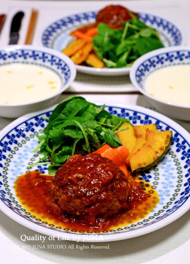 ツルピカハンバーグ☆簡単トマト系ソース(さっぱり系)