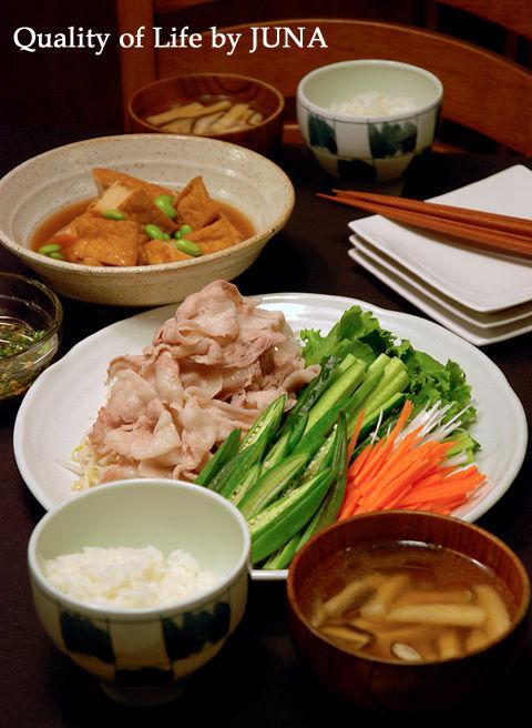 豚しゃぶ☆たっぷり野菜添え と 厚揚げの煮物など